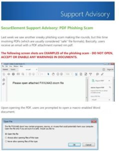 SecureElement Advisory on PDF Phishing scam.